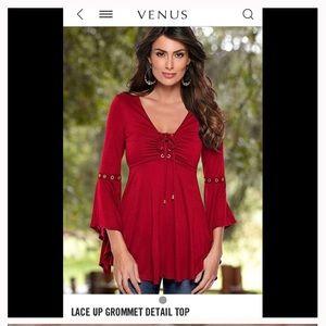 Venus Red Peasant Style Top